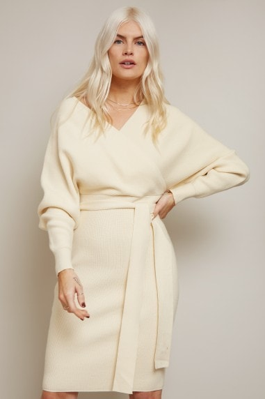 Rens Cream Mock Wrap Knit Dress