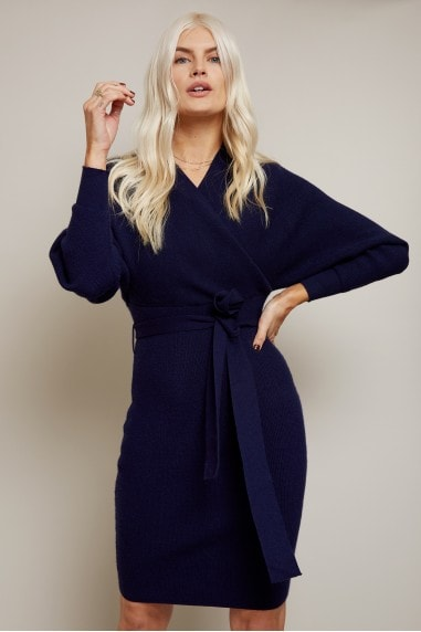 Rens Navy Mock Wrap Knit Dress