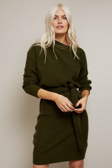 Mika Khaki Slash-Neck Knit Dress