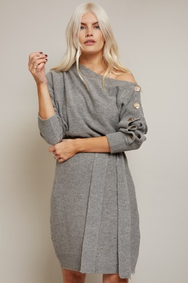 Mika Grey Slash-Neck Knit Dress