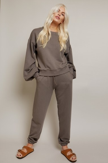 Grey Balloon Sleeve Sweatshirt Loungewear Co-ord