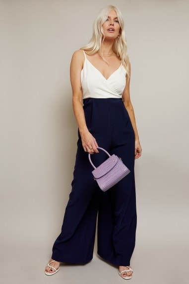 Ohio White And Navy Wide-Leg Jumpsuit