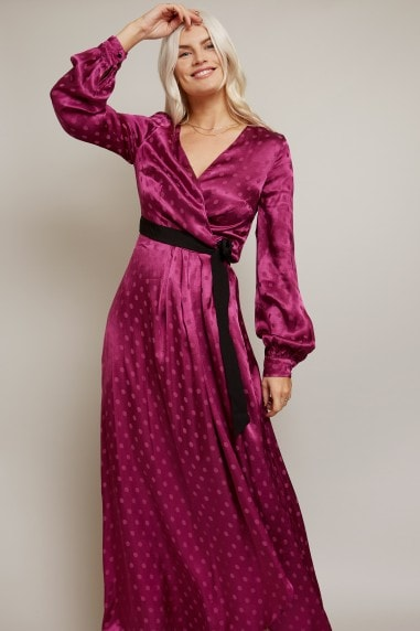 Tasmin Mulberry Polka-Dot Asymmetric Maxi Wrap Dress