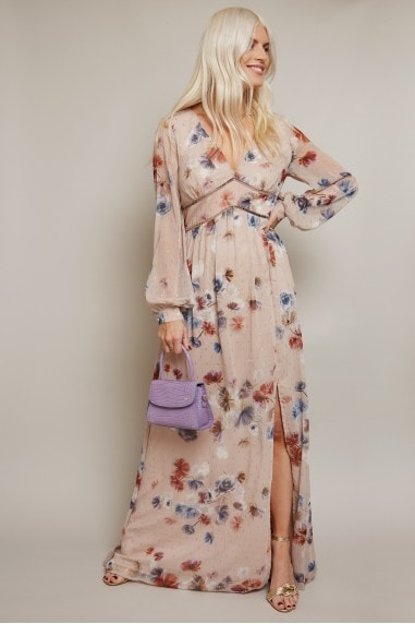 Mindy Floral-Print Lurex Maxi Dress