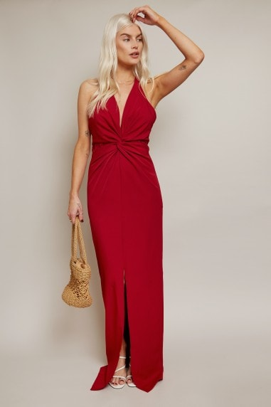 Martyna Chilli Lace Insert Halterneck Maxi Dress