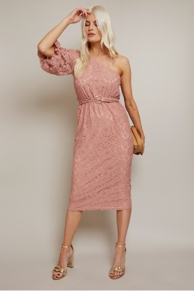 Naomi Apricot Lace One-Shoulder Belted Midi Pencil Dress