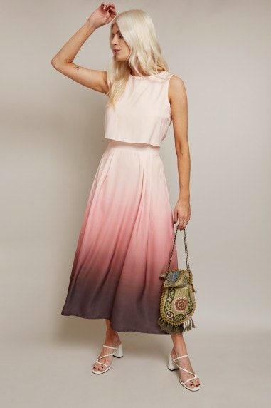 Moreno Rose Pink Ombre Overlay Midi Dress