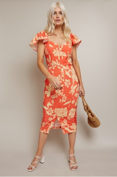 Carson Warm Orange Floral-Print Sweetheart Midi Dress