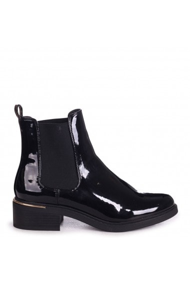 MYTH - Black Patent Classic Chelsea Boot With Gold Heel Trim
