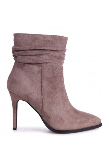 AMIRA - Mocha Suede Ruched Pointed Stiletto Boot Heel
