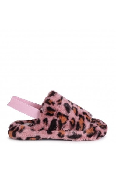 COMFY - Pink Leopard Print Fluffy Slingback Slippers With Platform Sole