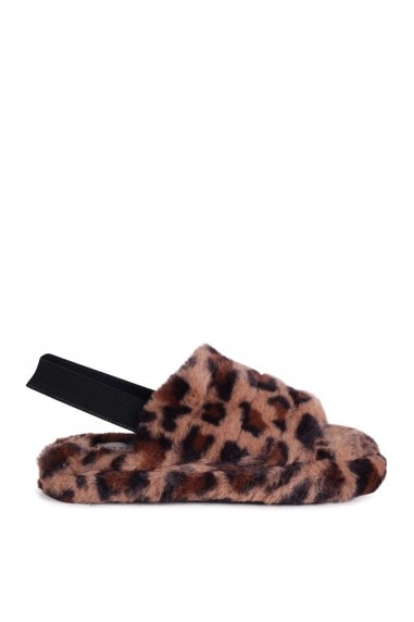 COMFY - Brown Leopard Print Fluffy Slingback Slippers With Platform Sole