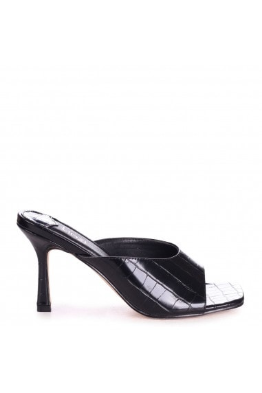 JADA - Black Croc High Cut Slip On Square Toe Mule