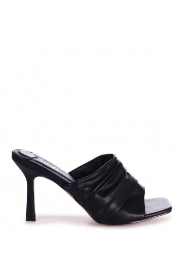 LEXIE - Black Nappa Ruched Front Slip On Square Toe Mule