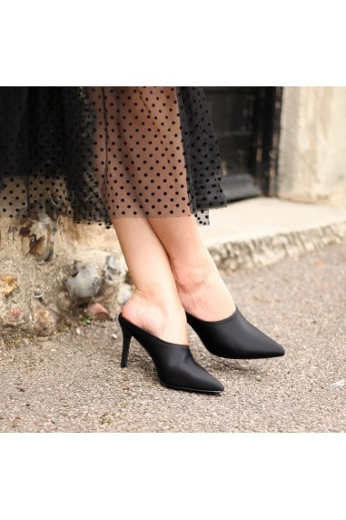 LUANNA - Black Lycra Slip On Mule