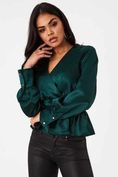 Aura Dark Green Satin Button Detail Peplum Blouse