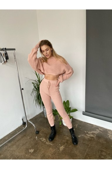 Pink loungewear Knitted Co ord Set with cropped jumper