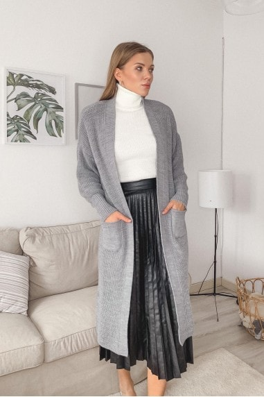 Longline Knitted Cardigan with Pockets in Grey