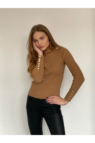 High Neck Long Sleeve Ribbed Knitted Jumper with Gold Button detailing in Camel