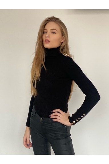 High Neck Long Sleeve Ribbed Knitted Jumper with Gold Button detailing in Black