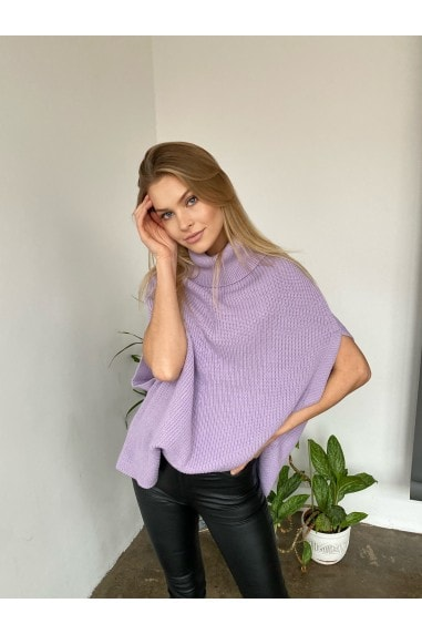 High Neck Oversize Knitted Poncho in Lilac