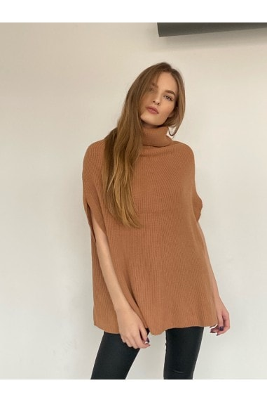High Neck Oversize Knitted Poncho in Camel
