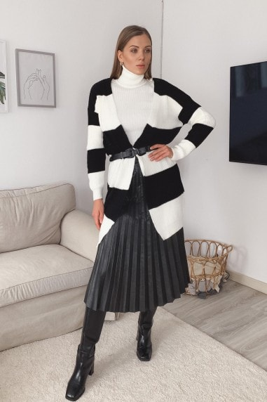 Black/White Striped Knitted Longline Cardigan