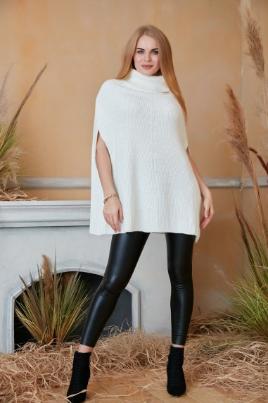High Neck Oversize Knitted Poncho in Ecru