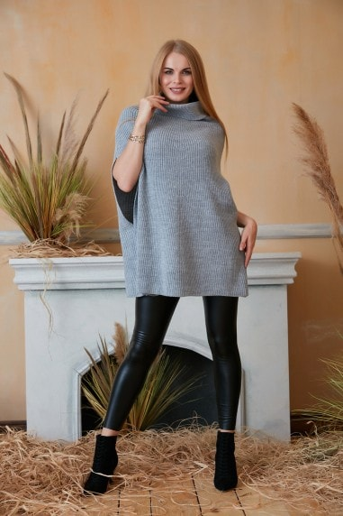 High Neck Oversize Knitted Poncho in Grey
