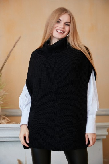 High Neck Oversize Knitted Poncho in Black
