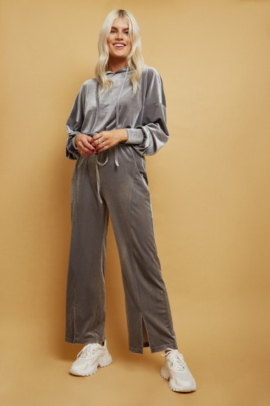 Brynn Silver Velvet Hoodie And Wide-Leg Trousers Lounge Co-ord Set
