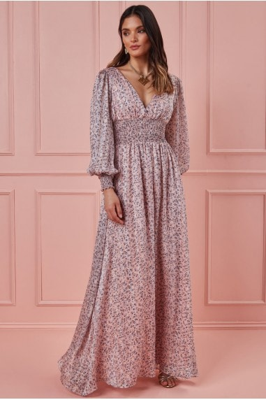 Long Sleeve Floral Print Maxi with Shirred Waistband