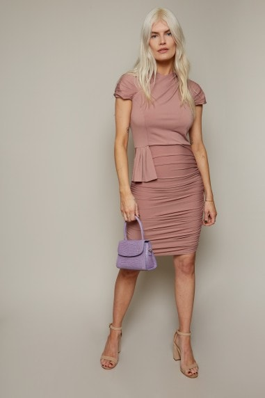 Irvine Rose Pink Ruched Bodycon Dress