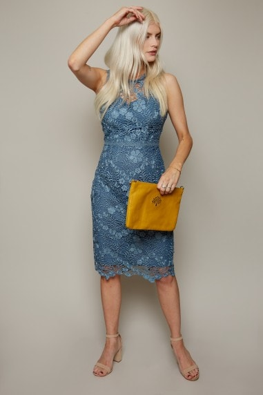 Copeland Prussian Blue Lace Pencil Dress