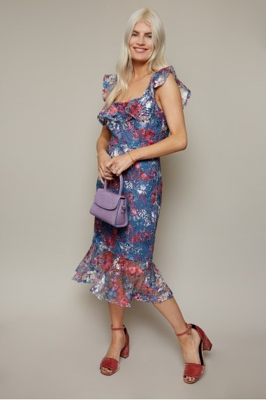 Fonteyn Prussian Blue Floral-Print Lace Pephem Midi Dress