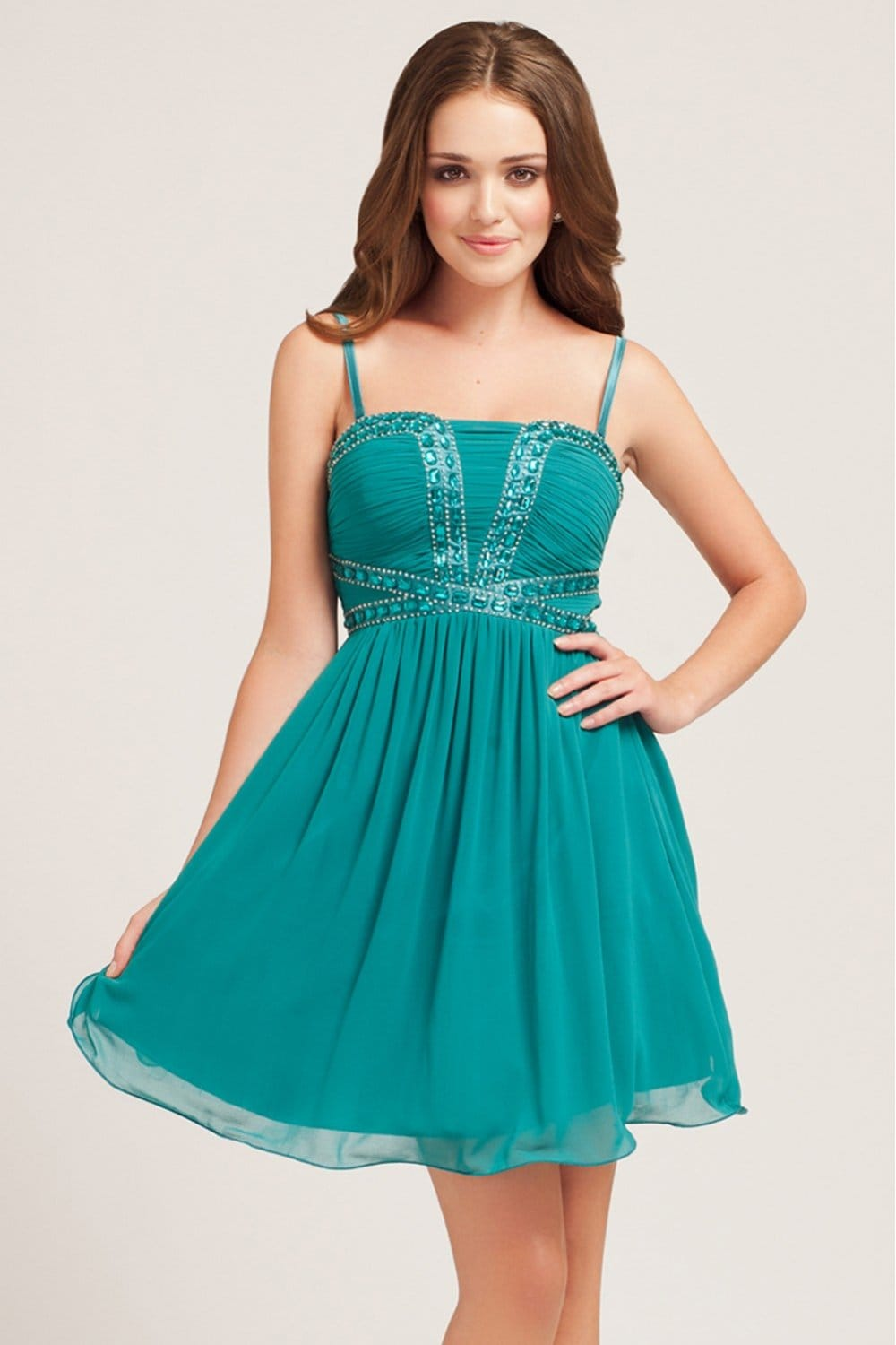 Little Mistress Teal Embellished Bustier Dress