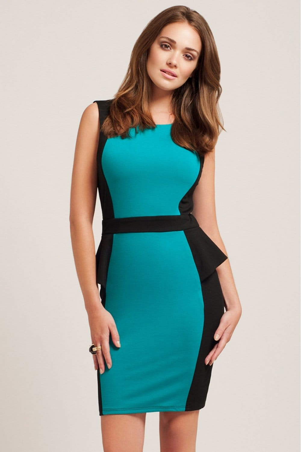 Little Mistress Black & Teal Statement Panel Peplum Dress
