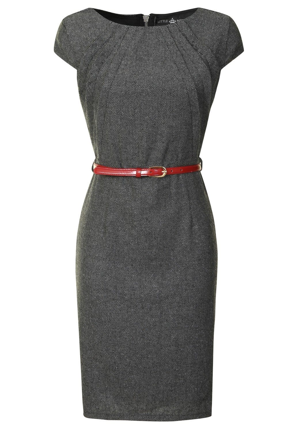 Little Mistress Tweed Fitted Dress with Pencil Skirt