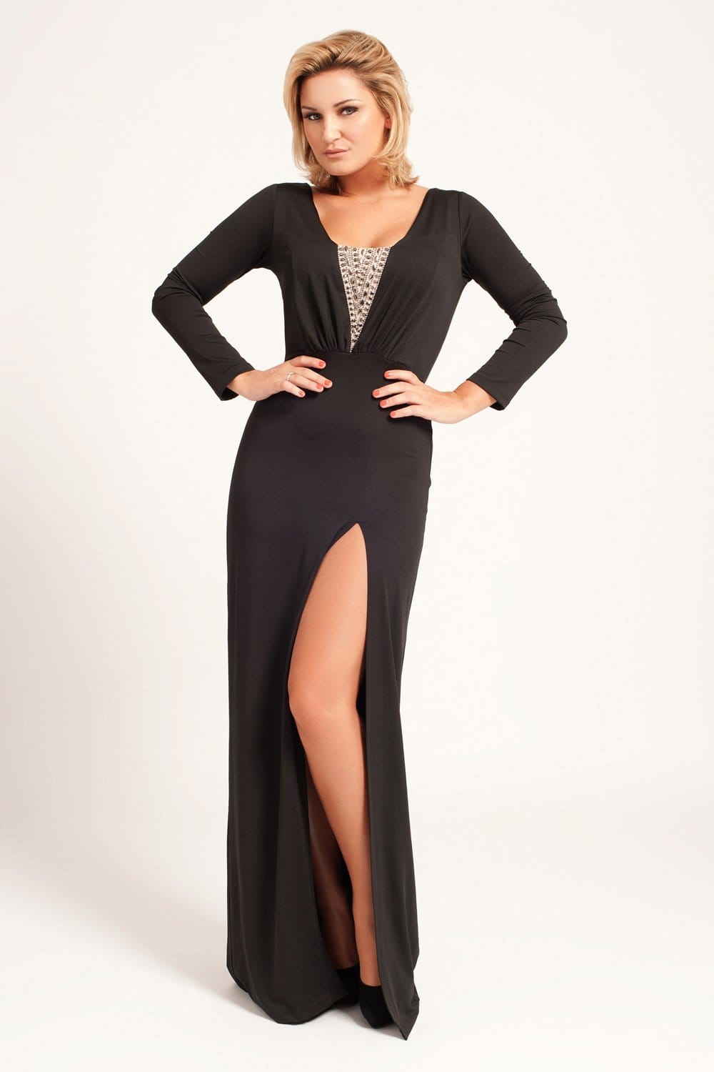 Little Mistress Black Long Sleeve Maxi Dress