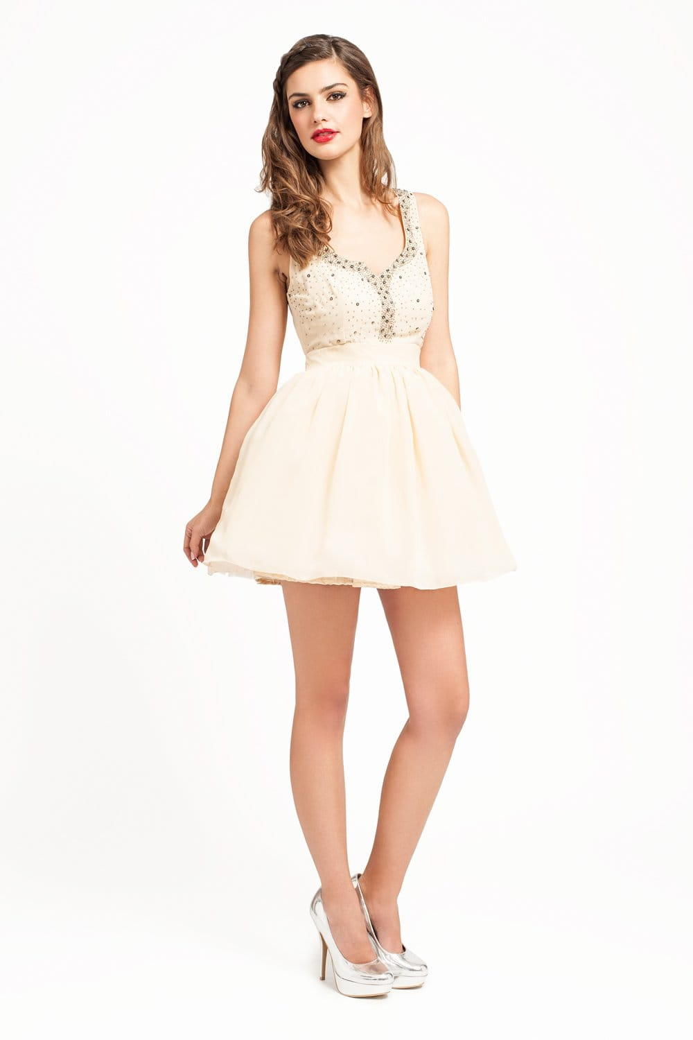 little mistress cream diamante sweetheart neck prom dress