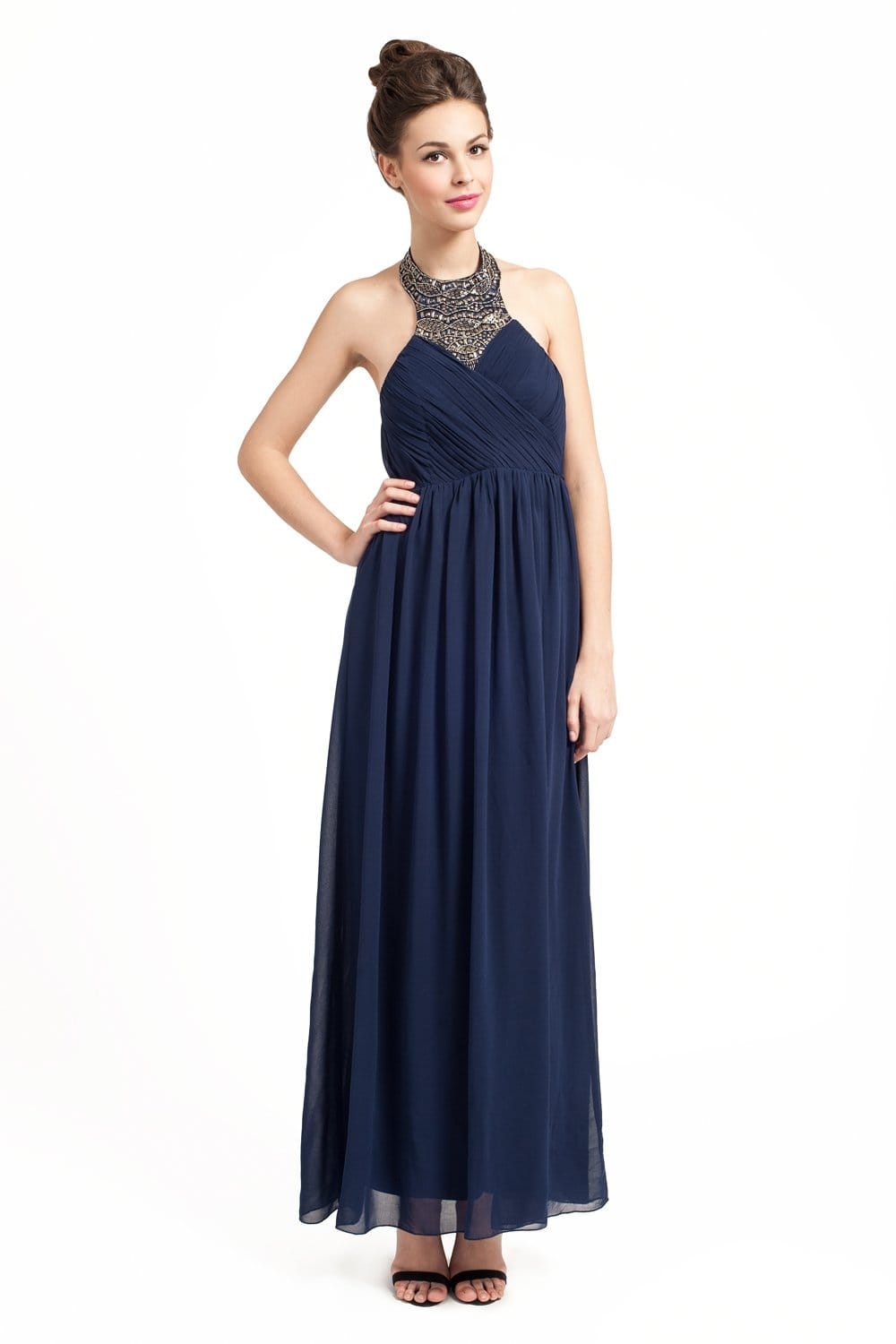 Little Mistress Navy Embellished Halterneck Rouched Detail Maxi Dress
