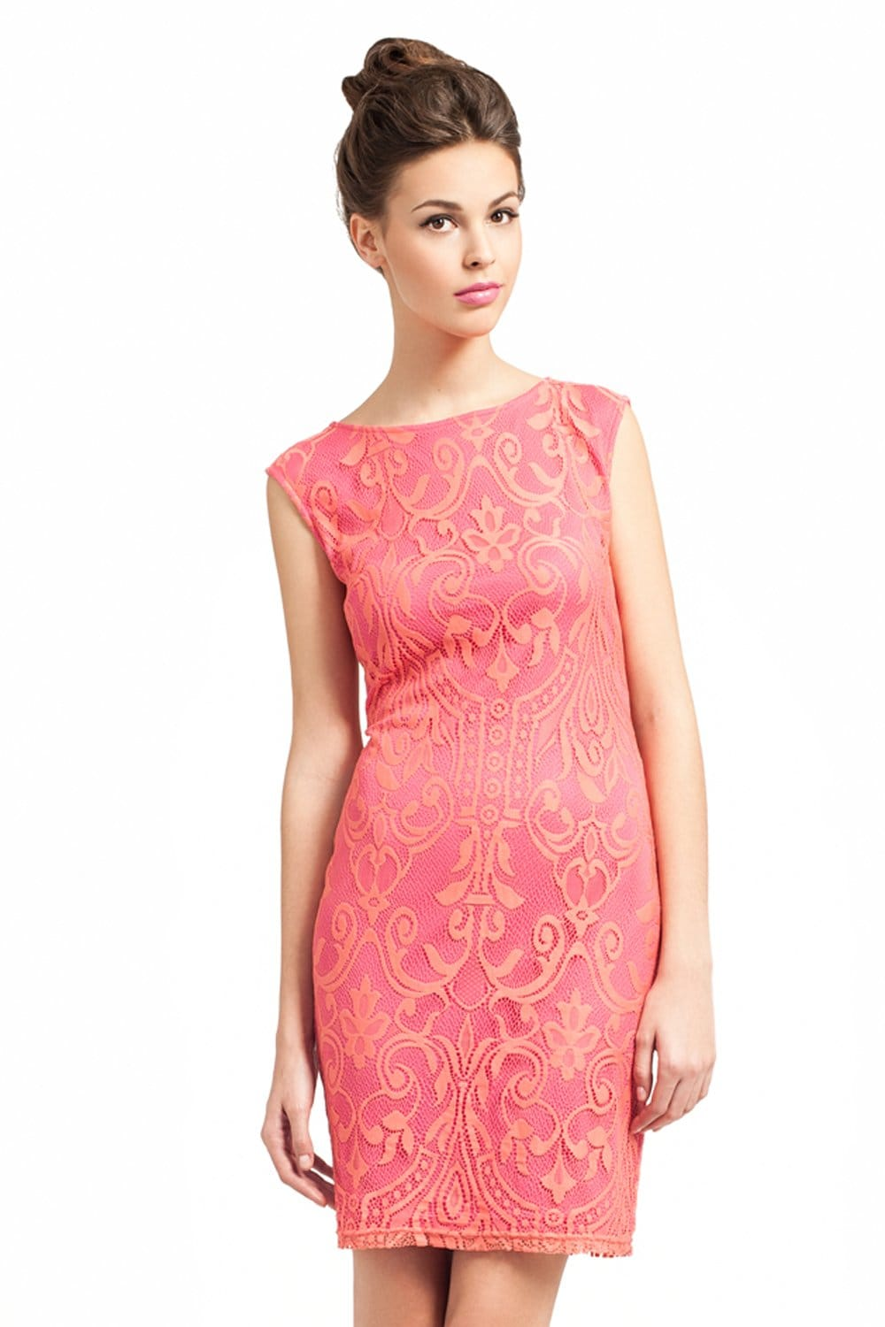 Little Mistress Pink &amp Orange Lace Overlay Detail Bodycon Dress