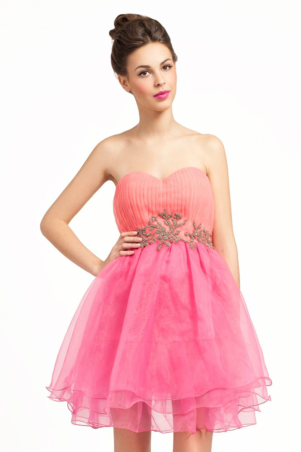 Coral And Pink Embellished Chiffon Organza Prom Dress