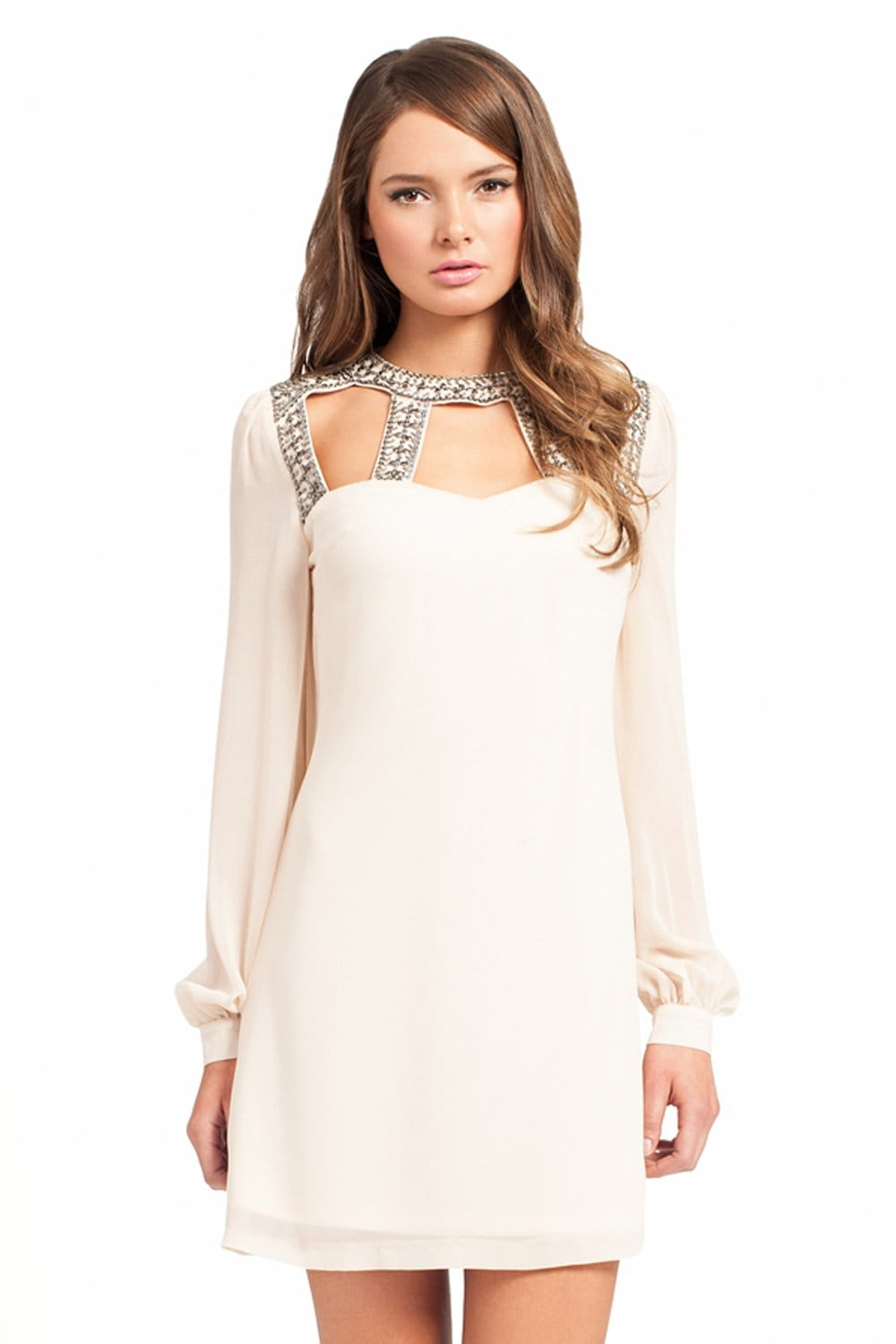 Cream Long Sleeve Keyhole Detail Embellished Tunic Dress