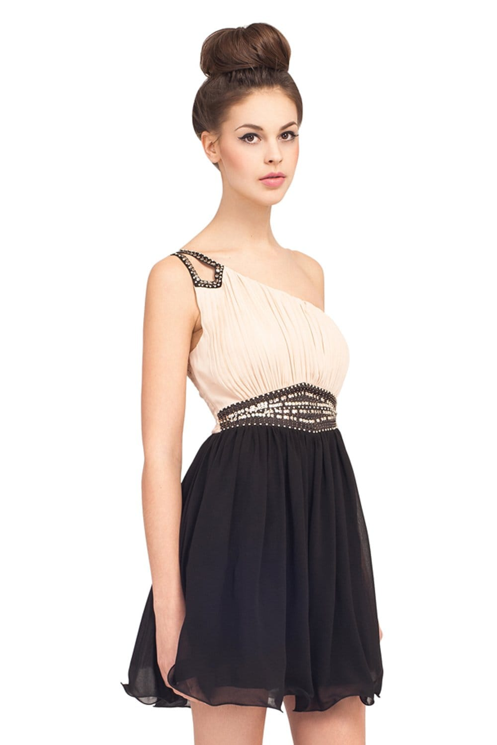 Cream And Black One Shoulder Embellished Party Dress