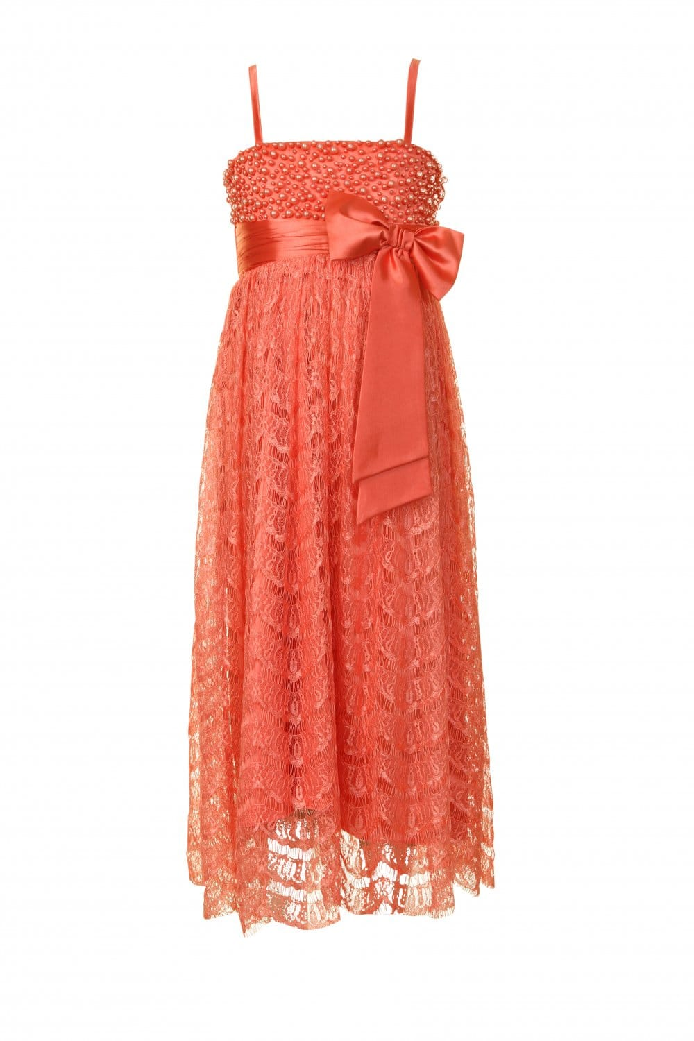 Little Misdress Coral Bead Embellished Bow Party Dress