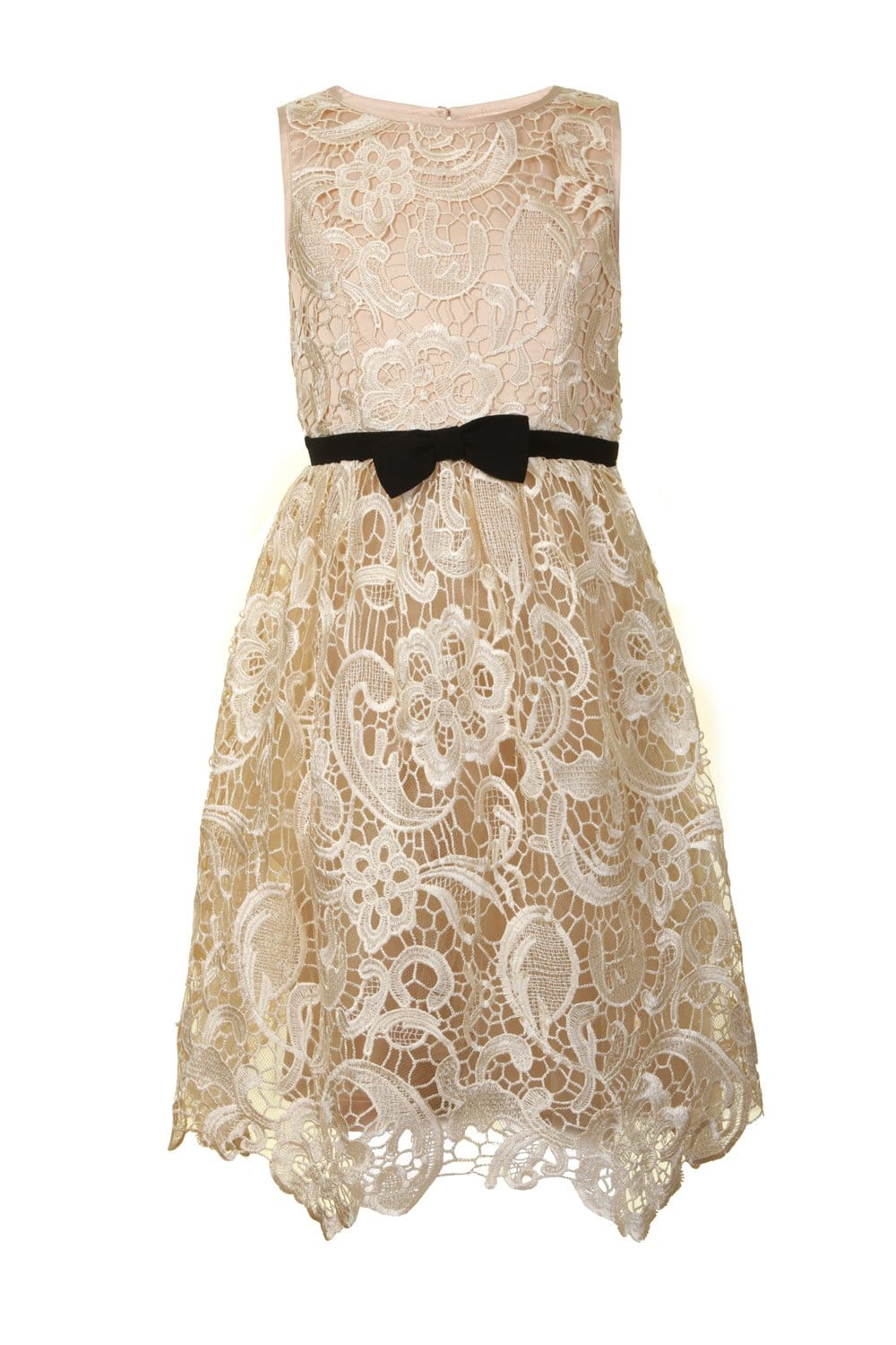 Little Misdress Cream Lace Bow Puffball Party Dress