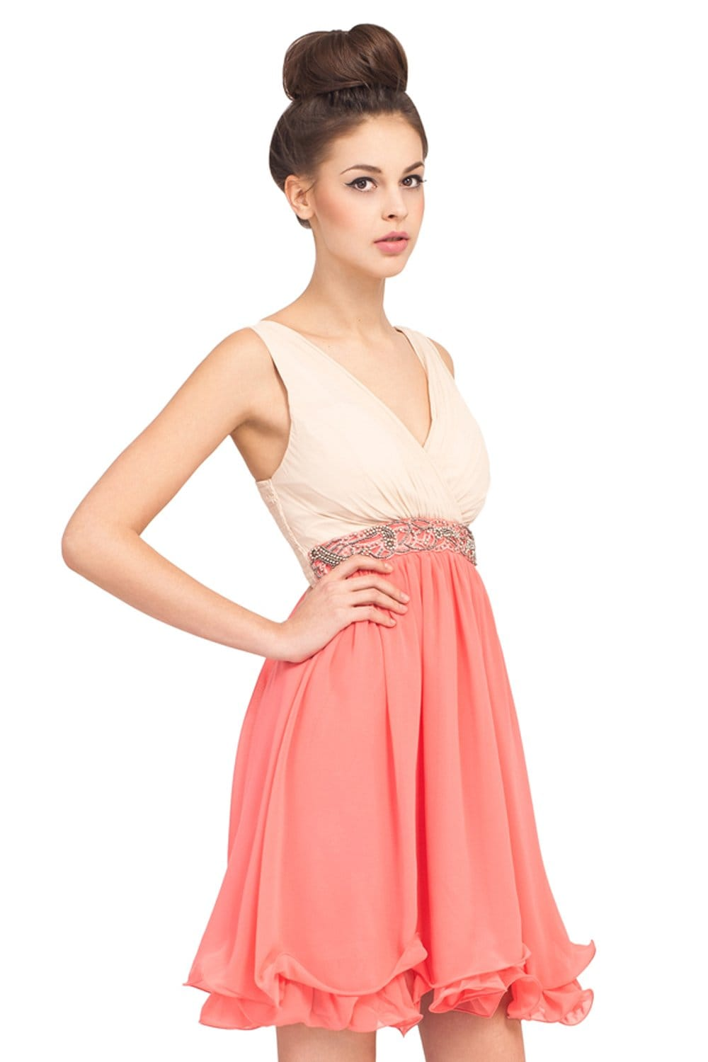 Cream And Coral Embellished 2 in 1 Party Dress