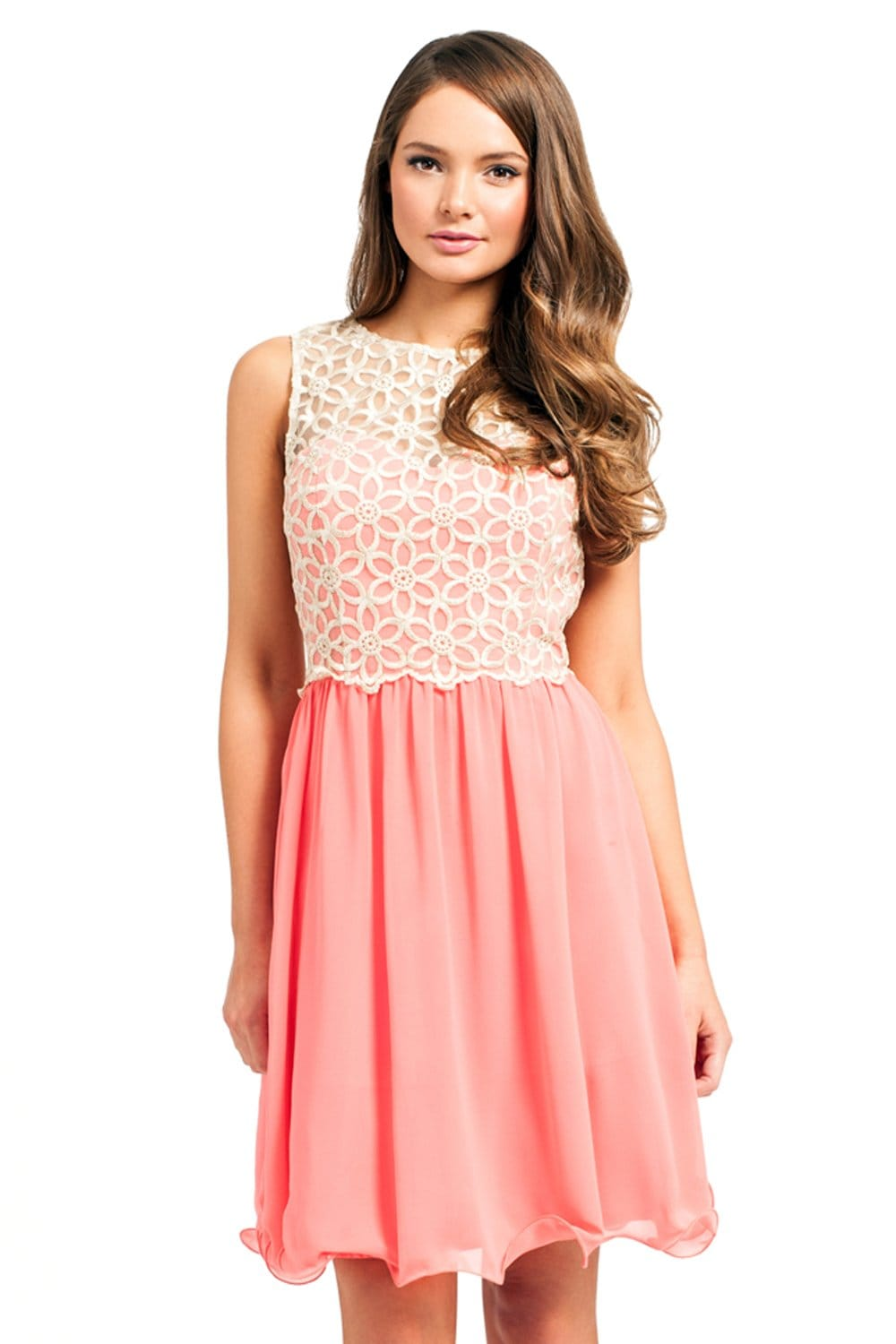 Coral & Cream Lace Cutout Detail Party Dress