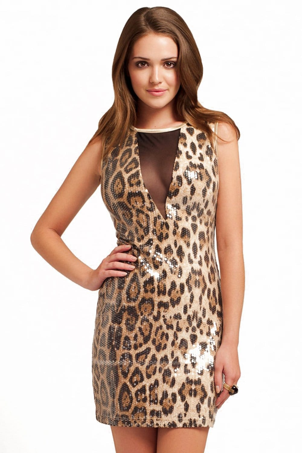 Little Mistress Sheer Panel Sequin Leopard Dress